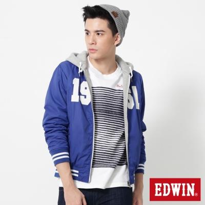 EDWIN 貼布繡雙面穿連帽式外套-男-藍色