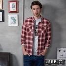 JEEP 經典水洗長袖襯衫-紅灰