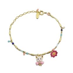 Les Nereides 貓咪系列 可愛小貓 彩珠金色手鍊 法國 巴黎 設計師
