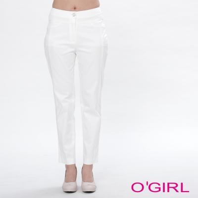 OGIRL純色立體修身剪裁長褲
