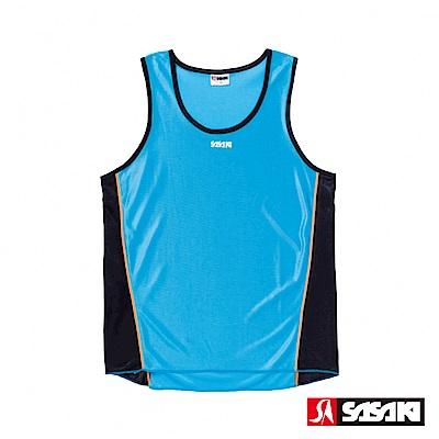 SASAKI 吸濕排汗專業田徑背心-男-鮮藍/黑/亮桔