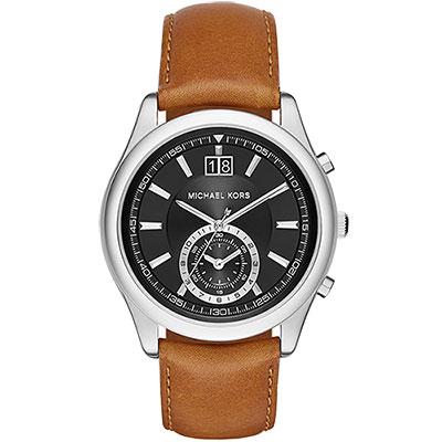 Michael Kors 爵士品味大日期計時腕錶-黑x咖啡/42mm