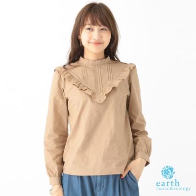 earth music 素色荷葉褶邊蕾絲立領長袖襯衫上衣-10163A92010