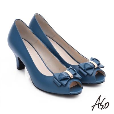 A.S.O 優雅美型 真皮甜美蝴蝶結魚口跟鞋 藍色
