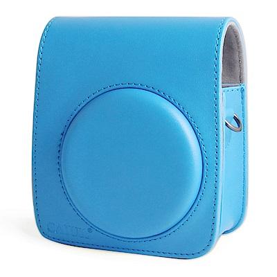 For FUJIFILM mini 70 拍立得專用皮質相機包-藍色