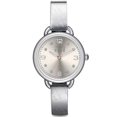 ELLE 鏤空指針不繡鋼時尚腕錶-銀/30mm