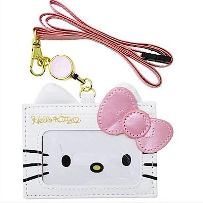 Sanrio HELLO KITTY可愛大臉珠光車票/證件套附可伸縮頸帶(粉蝴蝶結) @ Y!購物