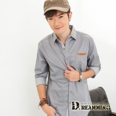 Dreamming 皮革邊口袋七分袖素面休閒襯衫-共三色