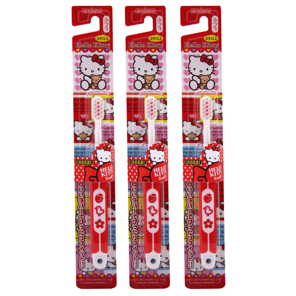 日本EBISU-Hello Kitty軟柄兒童牙刷×3入-顏色隨機