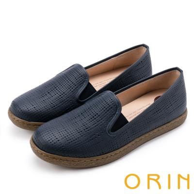 ORIN 引出度假氣氛 嚴選洞洞牛皮平底便鞋-藍色