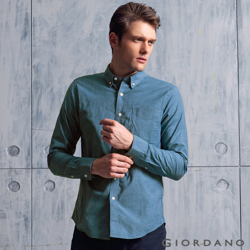 GIORDANO男裝素色牛津紡修身單邊口袋長袖襯衫06石南花藍