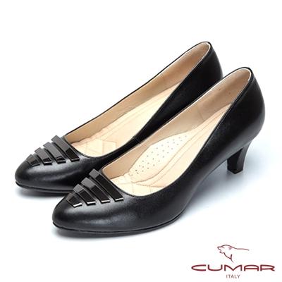 CUMAR法式優雅-金屬裝飾釦尖頭高跟鞋-黑