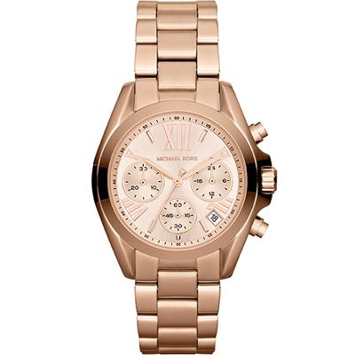 MICHAEL KORS 輝煌羅馬時標三眼計時腕錶-玫瑰金/35mm?