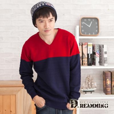 Dreamming 品味雙色壓紋V領針織毛線衫-共二色