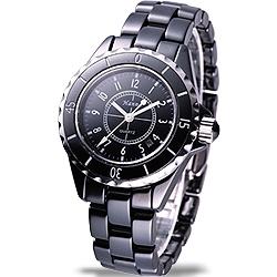 Hanna 法式情人全陶瓷石英腕錶-黑