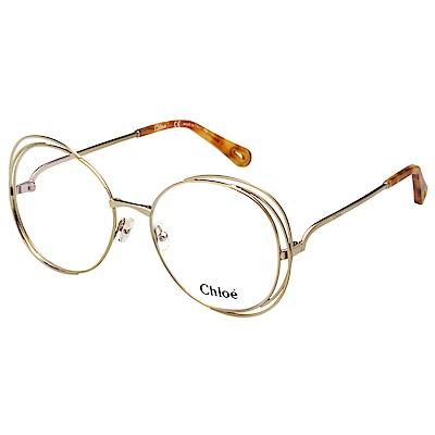 CHLOE 金屬 大框 光學眼鏡 (金色) CE2138