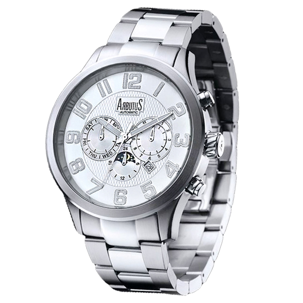ARBUTUS 愛彼特自信風範三眼機械手錶-銀/44mm