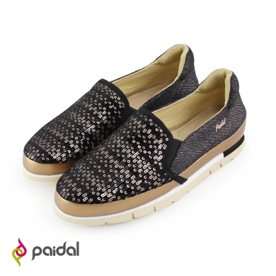 Paidal閃耀亮片輕運動休閒鞋樂福鞋懶人鞋-黑金