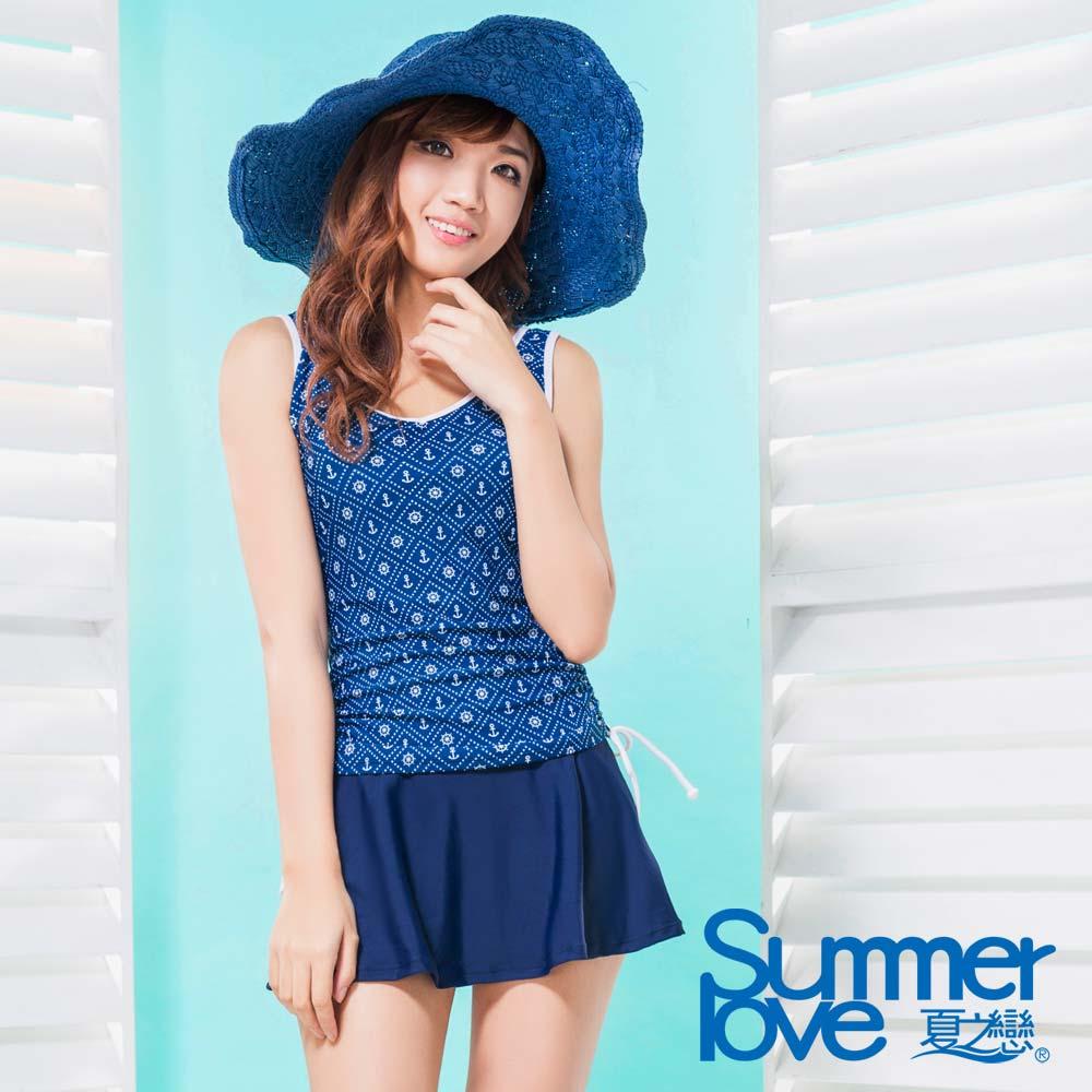 夏之戀SUMMERLOVE 比基尼泳裝 長版二件式 蔚藍海軍風