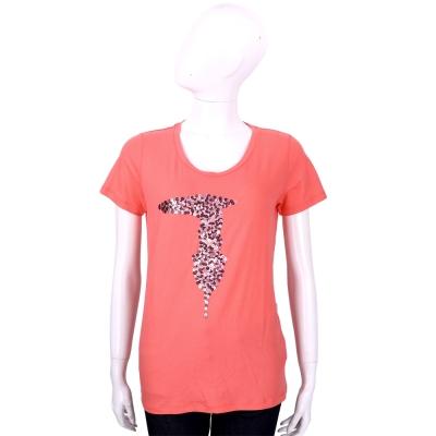 TRUSSARDI 橘紅色亮片LOGO棉質短袖T恤
