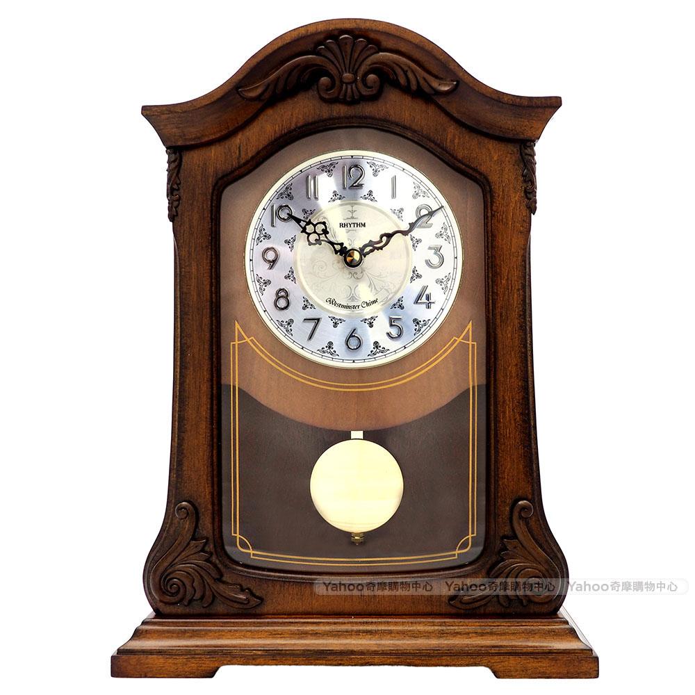 RHYTHM日本麗聲 復古典藏實木整點報時座鐘/33cm