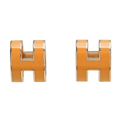 HERMES 經典POP立體H LOGO簍空橢圓穿式耳環(柑橙色X金)