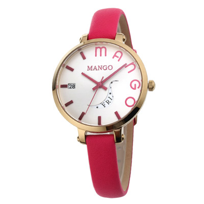 MANGO 日月燦爛時尚腕錶-白x粉/34mm