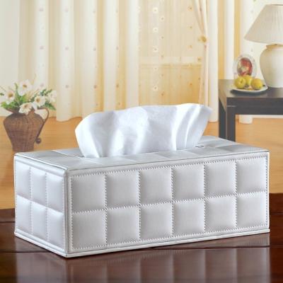 幸福揚邑 歐式方格紋皮革 磁吸式收納面紙盒 -經典白