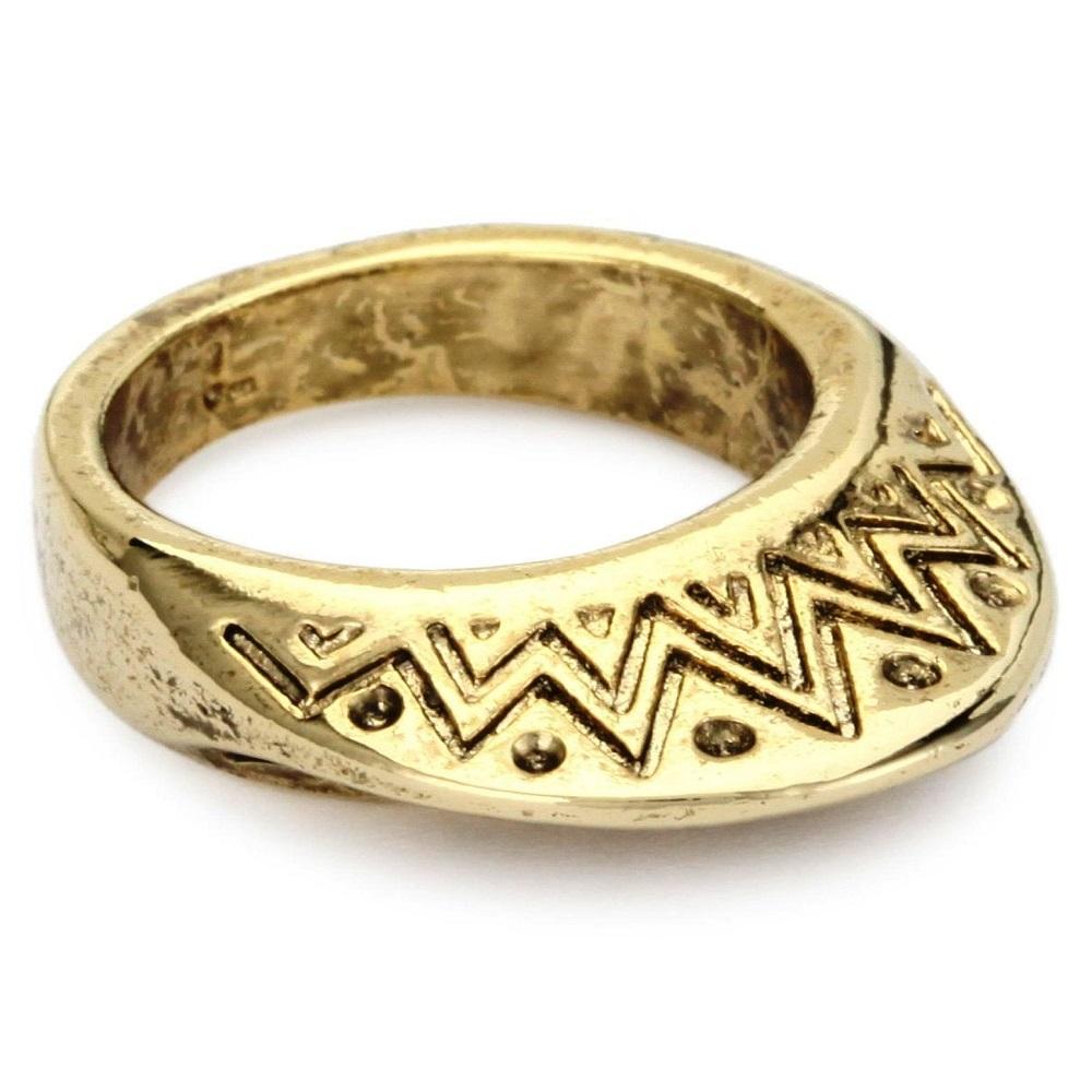 House of Harlow 1960 復古刻紋飾邊 立體半圓形 鷹族金色戒指
