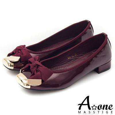 A-one-拼接漆皮織緞蝴蝶結方頭平底鞋-自信紅