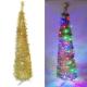6尺(180cm)彈簧摺疊金色哈利葉瘦型鉛筆樹聖誕樹(+LED100燈四彩光) product thumbnail 1