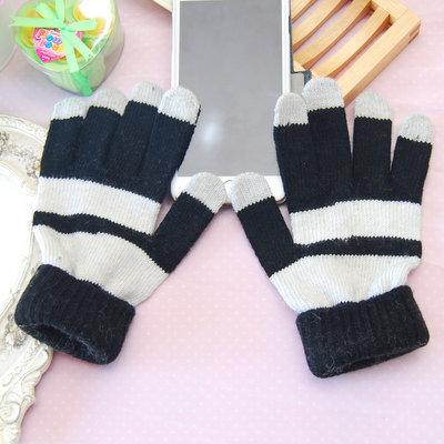 ACUBY-觸控式條紋雙折手套