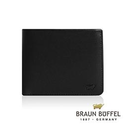 BRAUN BUFFEL - DELOS提洛斯系列8卡左上翻零錢皮夾 - 時尚黑