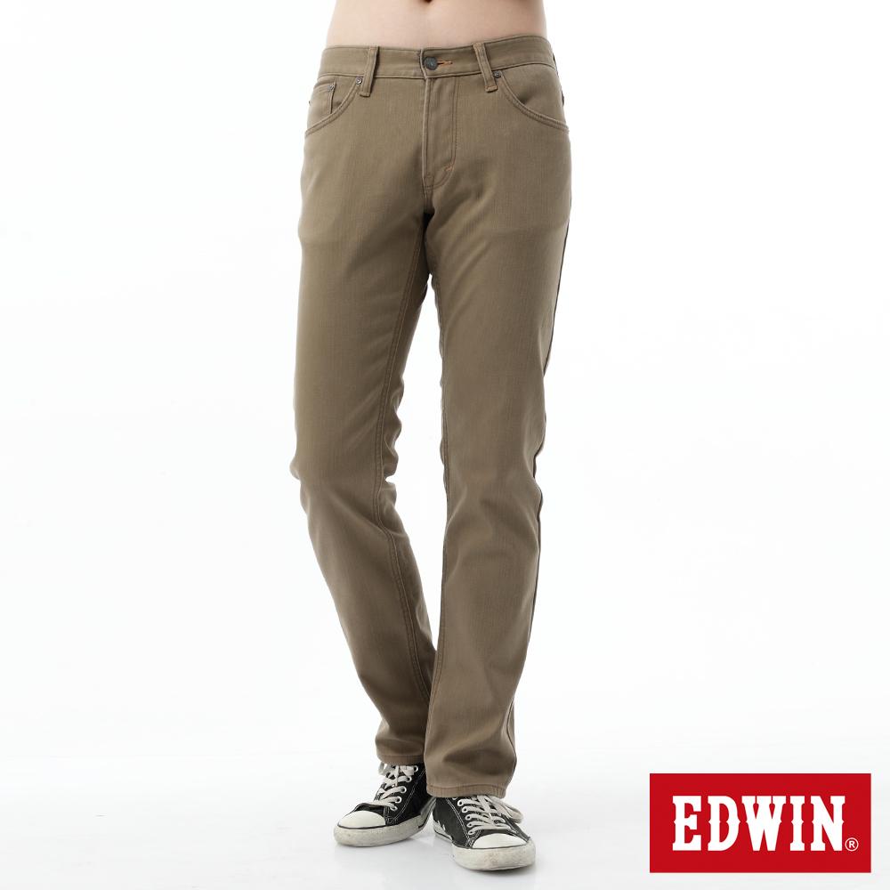 EDWIN 大尺碼 EDGE直筒保溫褲-男-褐色