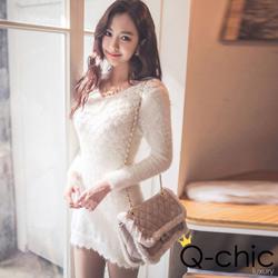 柔軟毛織波浪菱格針織連身裙 (共二色)-Q-chic