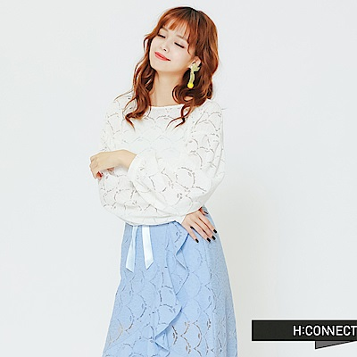 H:CONNECT 韓國品牌 女裝 - 優雅蕾絲設計上衣-白