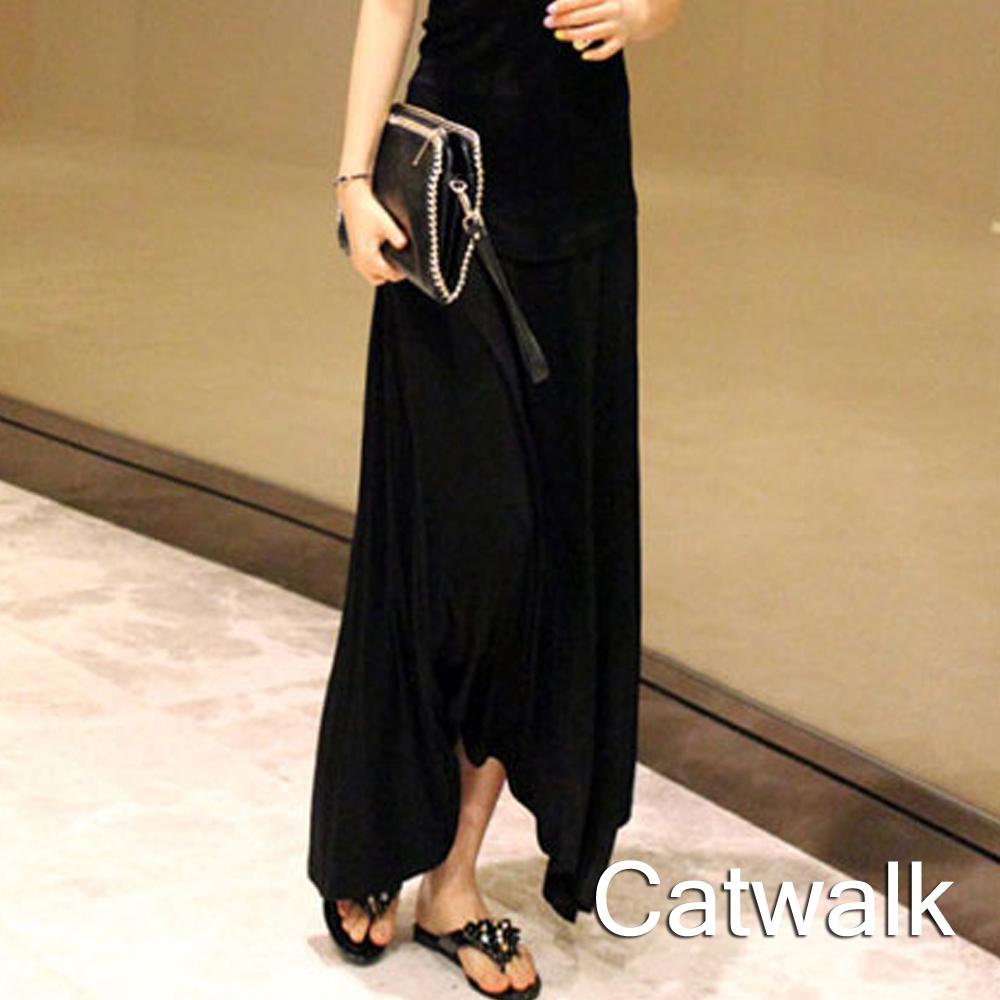 裙子 純色包臀棉質長裙(黑)-Catwalk