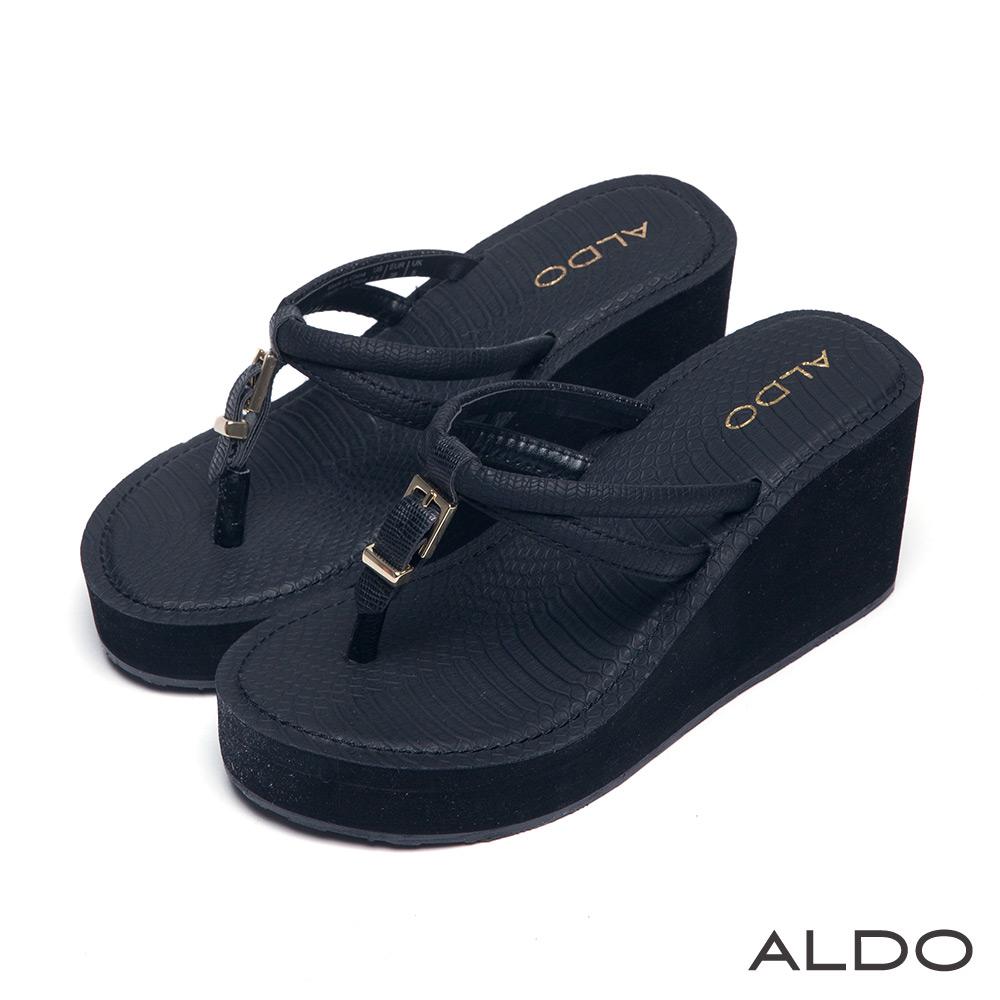 ALDO 羅馬假期前高防水台雙環夾腳涼鞋~尊爵黑色