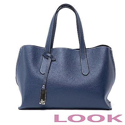 LOOK-真皮貝殼手提包-俏麗女孩Queena系列-品味藍