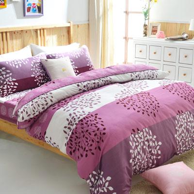 美夢元素 天鵝絨單人三件式 全鋪棉兩用被床包組-繽紛紫葉