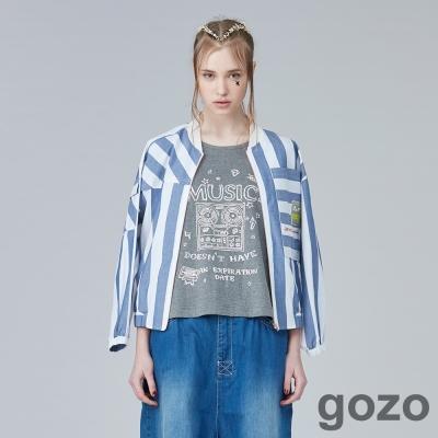 gozo 藝術色塊拼接短版外套(二色)-動態show