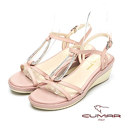 CUMAR舒適真皮-經典造型真皮厚台涼鞋-粉紅