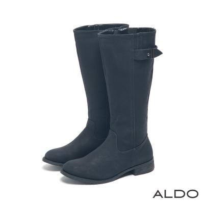 ALDO-中性休閒原色金屬釦帶復古木紋跟靴-尊爵黑