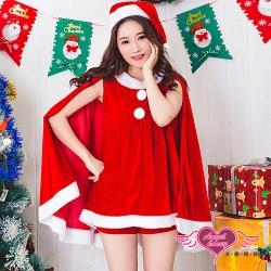 角色扮演 活力精靈 連身披肩聖誕派對表演服(紅F) AngelHoney天使霓裳