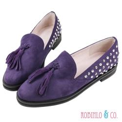Robinlo&Co. 流蘇仿真羊絨鑽石樂福鞋 紫