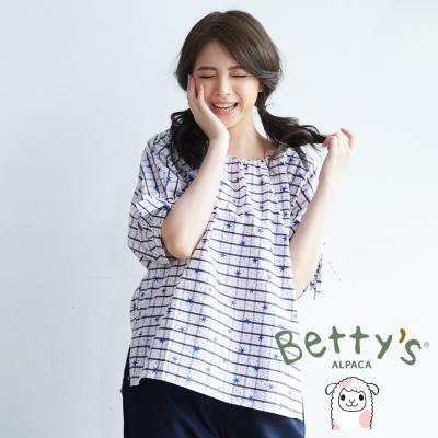 betty's貝蒂思 星星格子印花五分袖上衣(藍色)