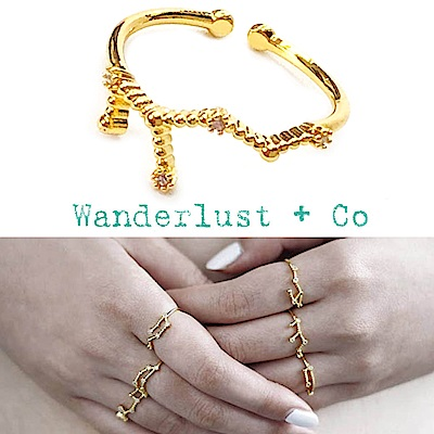 Wanderlust+Co 澳洲品牌 處女座戒指 金色鑲鑽戒指 VIRGO