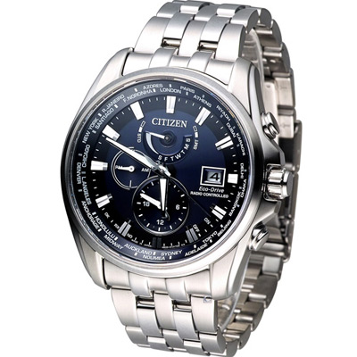CITIZEN GENT'S 星際對決時尚電波錶(AT9031-52L)-藍/44mm