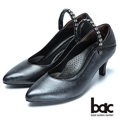bac巧思設計-兩用穿搭真皮高跟鞋-黑色