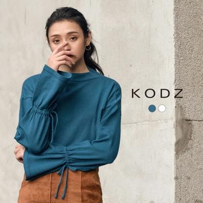 東京著衣-KODZ 雜誌款造型袖抽繩設計針織上衣-S.M.L(共二色)